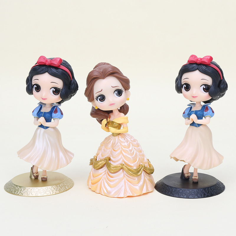 14cm Q Posket anime figure snow white princess doll snow white princess Belle PVC Action Figure model play house Toys for girls(China)