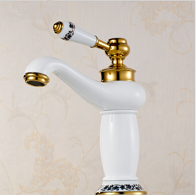 Free shipping White color golden bathroom faucet with single handle hot cold brass bathroom basin sink facuets<br><br>Aliexpress