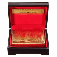 High Quality Special Unusual Gift 24K Carat Gold Foil Plated Poker Playing Card With Wooden Box And Certificate NEW(China)