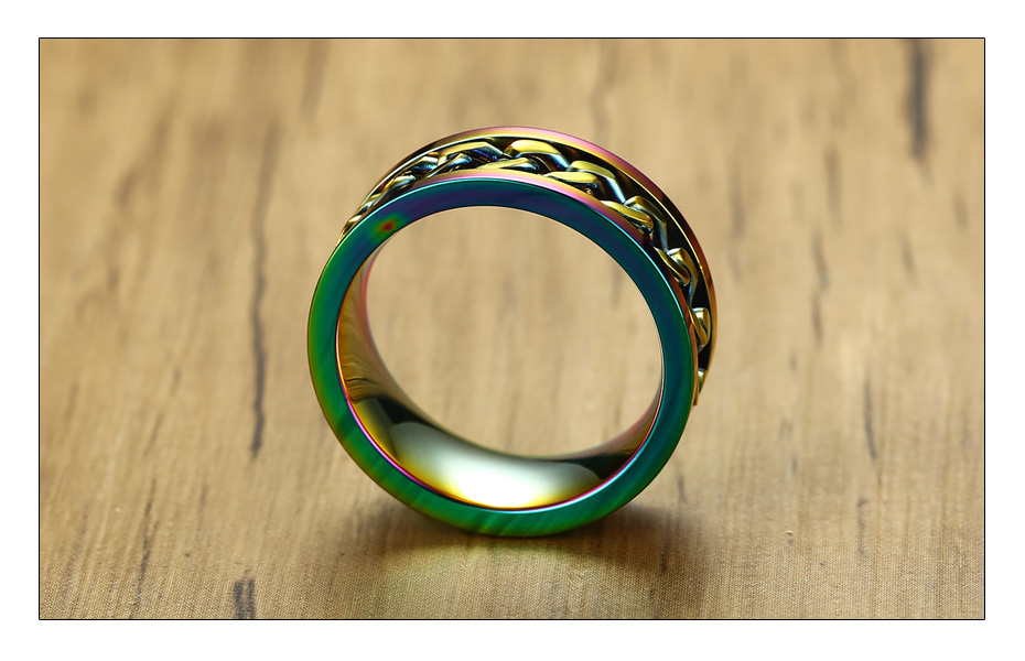 Meaeguet 8mm Wide Rainbow Stainless Steel Spinner Chain Ring For Men Women Hiphop Rock Style Wedding Bands Jewelry Gift (6)