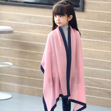 UHLRICHBWER 2017 Autumn And Winter New Children Fashion Mixed Colors Linen Crepe Scarf 140CM Boy And Girl Kids Shawl S1705(China)