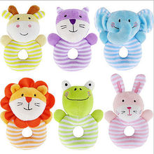2017 Lovely Newborn Animal Baby Rattle Stroller Plush Toy Rabbit Lion Fox Hand Bell Doll(China)