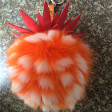 Cute Fox Fur Pineapple Keychains Ananas Fruit Pom Poms Pendant Charm Bag Key Chains Car Keyring Fashion Jewelry Girl Gift J00012