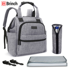 BRINCH Multifunctional Diaper Bag For Mother Baby Nappy Bag Backpack Large Capacity Mummy Bag With Changing Pad Stroller Straps(China)