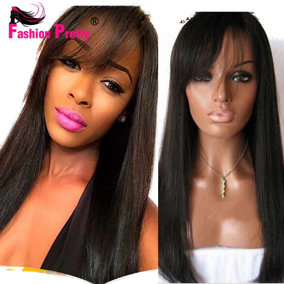 Full Lace Human Hair Wigs Front Lace Wigs Straight Glueless Full Lace Wigs 130density Brazilian Human Hair wig with light bangs<br><br>Aliexpress
