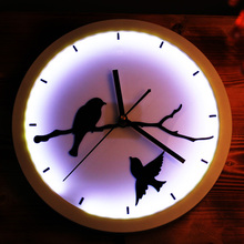 Fashion creative wall clock luminous Birds led lights luminous mute art Wall hanging barroom Party Create an atmosphere