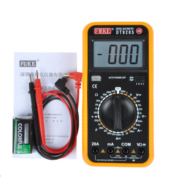 Free shipping 1PCS FUKE DT9205 A stage full protection against burn digital multimeter multimeter large screen display number<br><br>Aliexpress