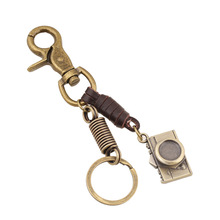 Mini Camera Keyring Punk Style Pure hand - Woven leather rope Key Chain men women couple keychain alloy Key Ring Jewelrys 17371(China)