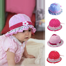 Cute Baby Infant Girls Sun Flower Hat Girls Polka Dot Hearts Cotton Summer Cap
