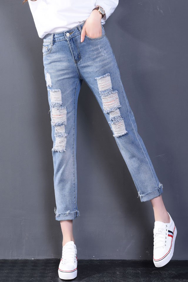 Women Sexy Hole Denim Skinny Pants High Waist Cut-Out Ripped Jeans Stretch Pants Feet Blue Jeans Harem Pants  Loose Trousers Одежда и ак�е��уары<br><br><br>Aliexpress