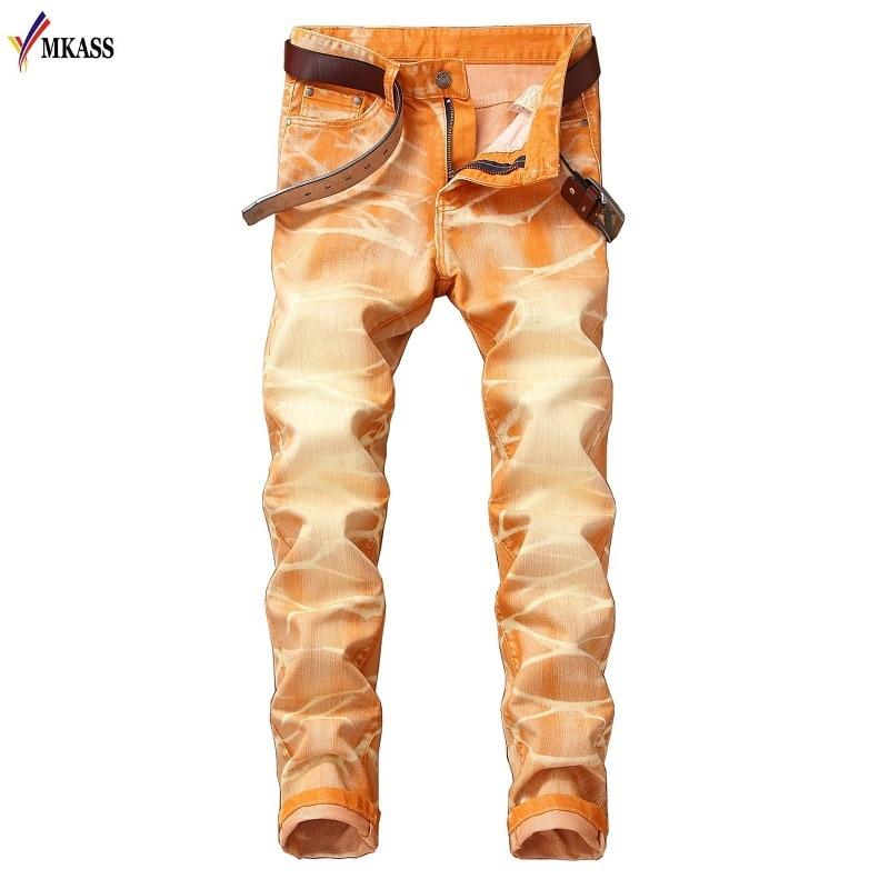 2018 New Fashion Denim Pants Solid Slim Fit Jeans Men Design Washed Retro Long Stretch Skinny Jeans 5 colors Hombre Biker Jeans