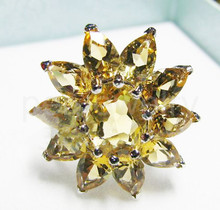 Citrine ring Natural real citrine Finger ring 925 sterling silver Fine yellow crystal 0.35CT*10pc,1.25ct*1pc gems #16101212