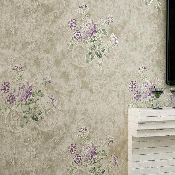 Vintage Wallpaper Purple Flowers 3 Mural  Rolls Home Decor papel de parede Florals<br>