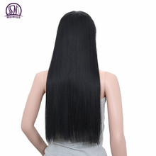 MSIWIGS Straight Long Hair Extension Clip in Hair Extensions High Temperature Fiber Synthetic Ombre Hair Black Blonde False Hair
