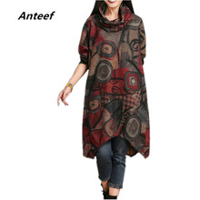 new fashion cotton woolen vintage print women casual loose autumn winter dress party vestidos femininos dresses 2017(China)