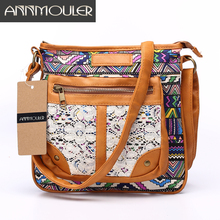 Annmouler Brand Women Messenger Bags Lace Flower Shoulder Bag Pu Leather Canvas Patchwork Bag 2 Colors Small Canvas Satchel