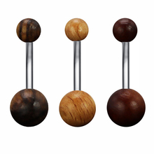 WOOD Ball !!! 14G Navel Piercings Surgical Steel Belly Button Rings Piercing ombligo Women nombril Body Pircing Jewelry(China)