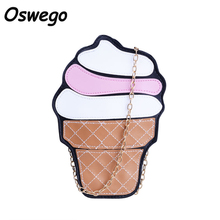 Oswego Icecream Cupcake Sweet Lady 3D Design PU Leather Women Shoulder Bags Metal Chain Big Capacity Crossbody Messager Bag