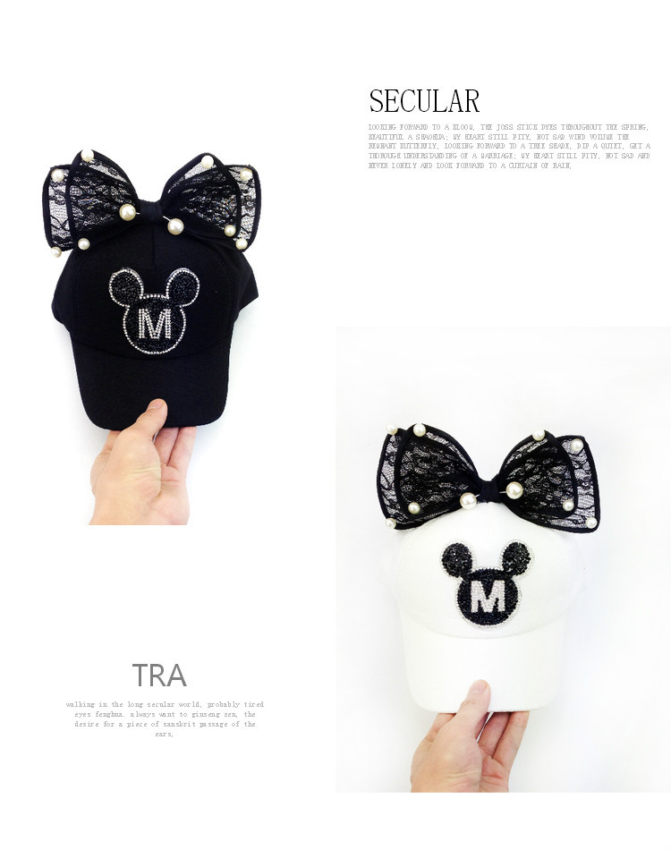 Summer children bow and Pearl Black Diamond cute Mickey peaked cap ...