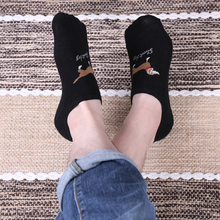 1 Pair Casual Cute Dog Animal Pattern Socks Men Non-Slip Invisible Low Cut Cotton Blend Ankle Sock Slippers