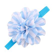 Tonsee Design   Girls Striped Big Flower Headbands Children Elastic Hair Accessories Wholesale