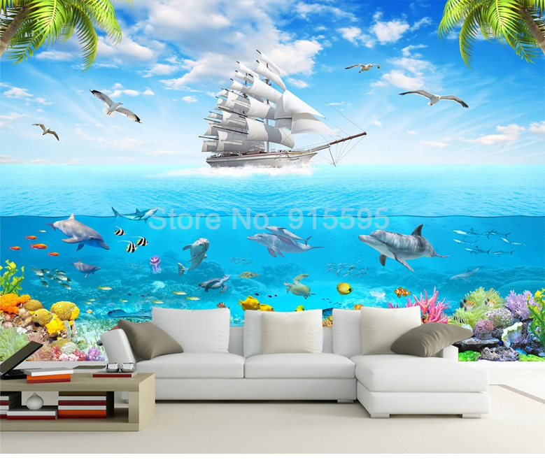 HTB1c IORpXXXXXJXVXXq6xXFXXXc - 3D Cartoon Picture Underwater Sailing Dolphin Wall Mural-Free Shipping
