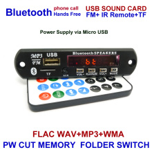 Wireless Bluetooth 12V 5V Micro USB MIC 3.5MM AUX FLAC MP3 WMA Decoder Board Audio Module USB TF Radio For Car