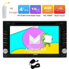 Free 4G Dongle Android 6.0 Car DVD Player with 4G Car Stereo with GPS 2 Din Navigation Vehicle Headunit Radio Support WiFi OBD2