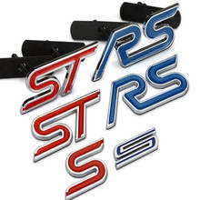 Blue Red Chrome Metal S RS ST Car Grille Styling Emblem Badge 3D Car Sticker Refitting Decal for FORD Focus Mondeo Accessory