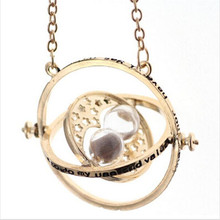 3color Golden plated time turner necklace hourglass vintage pendant Hermione Granger for women lady girl wholesale free shipping