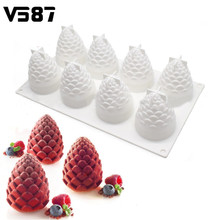 8 Pine Cone Silicone Cake Fondant Mold Chocolate Cookies Mould Home Kitchen DIY Cake Baking Decorating Tools Mousse Dessert Mold(China)