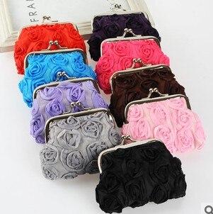 Wholesale:12 PCS/LOT Coin purse!Charming Female rose change purse,women zero wallets,Ladys clutch hasp money bags pouch<br><br>Aliexpress