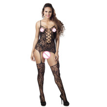 Buy Lingerie Sexy Hot Erotic Grande Taille Women Fishnet Sheer Open Crotch Body Stocking Bodysuit 30S8429 drop shipping