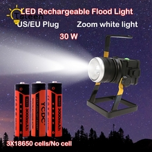 spot led exterieur LED waterproof Cree T6 zoomable 30w 18650 led flood spot light night fishing garage basement lamp led outdoor(China)