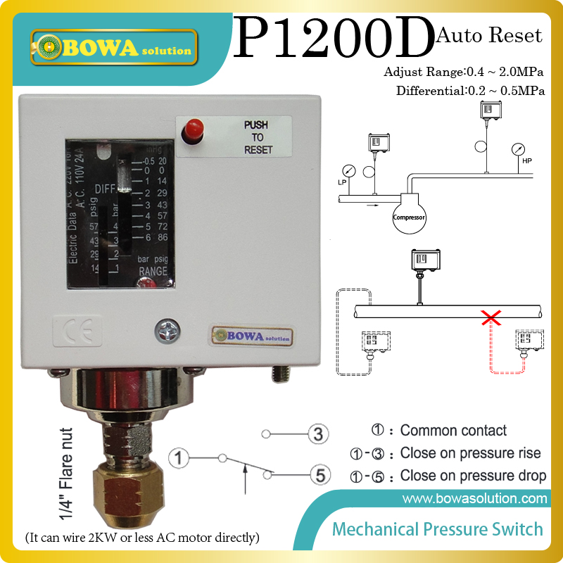 0.5~2MPa  auto reset  mechanical Pressure controls  for  switch water or oil pump in mould temperature equipments<br><br>Aliexpress