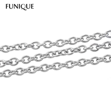 FUNIQUE 5M Stainless Steel Link-Opened Cable Chains 3x2.5mm For Necklace Bracelet