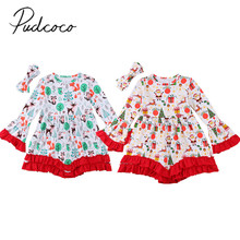 2017 Brand New 2PCS Toddler Infant Newborn Baby Kid Girl Christmas Dresses Top Headband 2pcs Santa Xmas Outfits Clothes Set 2-7T(China)