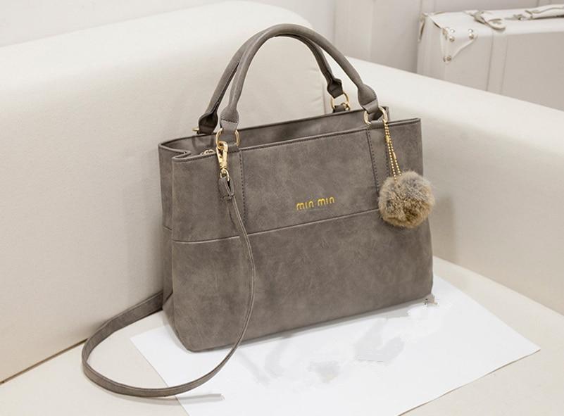 2017 New fashion retro Women handbag matte leather messenger bag wool ball decoration solid Letter Ms. Messenger Bag JF220<br><br>Aliexpress