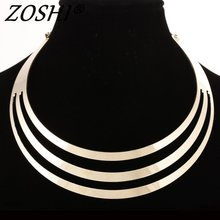 2016 Charm Choker Necklaces Women Gorgeous Metal Multi Layer Statement Bib Collar Necklace Fashion Jewelry Accessories Hot Sale(China)