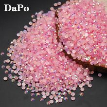 2017 New Jelly AB Light Pink Color Flat Back Rhinestones Applique Resin DIY Nail Art Decorations Accessories(China)