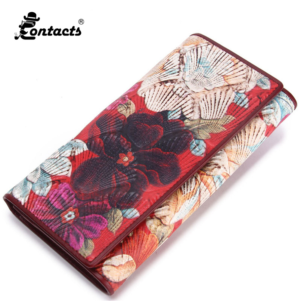 CONTACTS  2017 New Women Wallet Floral Purses Fashion Carteiras Fashion Designed Brand Floral Wallet Real Leather Wallet Long<br>