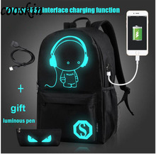 USB Charge music canvas Backpack luminous pupils Good school Backpack students leisure backpack female fashion Star Backpack