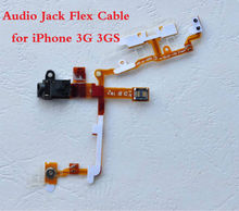 High Quality New Headphone Audio Jack + Power Button and Volume Flex Cable For iPhone 3G 3GS Replacement Parts + Fast Shipping