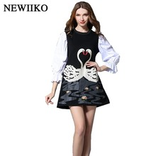 Fashion new spring Summer women High quality swan pattern embroidery Three Quarter Sleeve Contrast color O-Neck one-piece dress