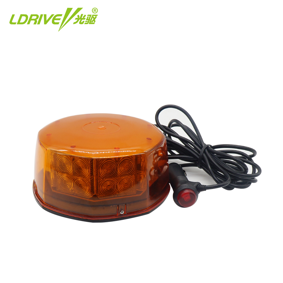 32 Watts 32 LED Amber Yellow Emergency Vehicle Stroble Light Construction Warning Flashing Lights Beacon Magnetic Base 12V<br>