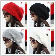 2013 New Arrival Winter Warm Rabbit Fur & Wool Women's Crochet Hat Beanie Cap,EMS&DHL Free Shipping Wholesale Baggy Hats(China)