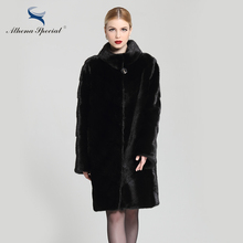 Athena Special New Stylish Winter Warm Mink Coat For Women, Natural Fur Coats, Black Mink Coat With Stand Collar Free Shipping(China)