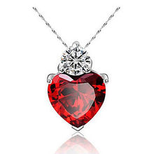 Red Heart Pendants Necklaces Women's Necklace Crystal Jewelry Gifts Silver Plated Suspension Collar Pingentes(China)