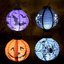 1 pcs Round Halloween Decoration LED Paper Pumpkin Bat Spider Light Hanging Lantern Lamp Halloween Props Outdoor Party Supplies(China)