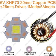 Cree XHP70 Cool White,Neutral White, Warm White 6V High Power LED Emitter Diode 20mm Copper PCB + 26mm 1 Mode or 5 Modes Driver